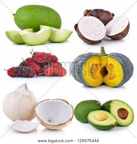 coconut mango Mulberry pumpkin taro roots avocado on white background