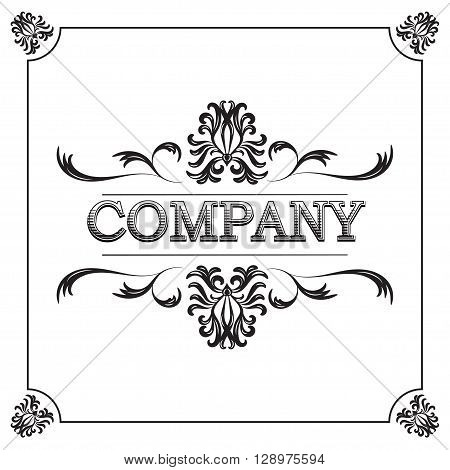 vector Vintage Ornate Frame. retro frame for invitation, certificate and greeting card or company logo. Vintage book style. Frame for design - stock vector