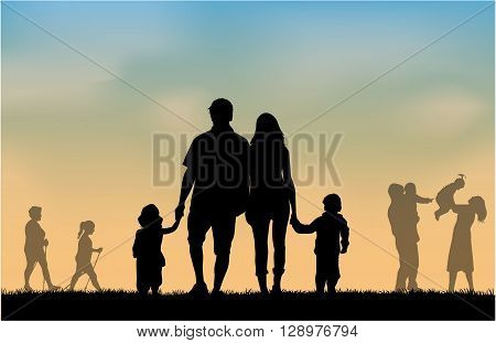 Group of people. Silhouette family .Wektorowa conceptual illustration.