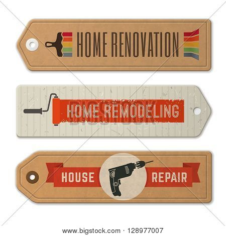 Set of home remodeling badges and labels on cardboard tags. Vintage house renovation vector illustration