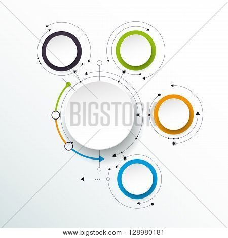 Vector abstract molecules with 3D paper label integrated circles. Blank space for content business infographic template diagram network web design. Light gray color background. Social media connection technology concept
