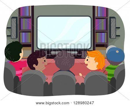 Stickman Illustration of Boys Watching TV