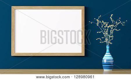 Blank Wooden Frame Above Shelf 3D Rendering