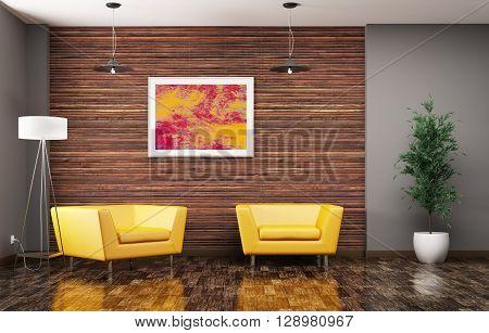 Living Room Interior 3D Rendering