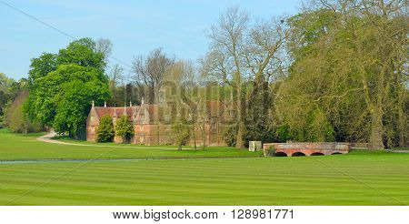 Saffron Walden, Essex, England - May 07, 2016: Bridge and Stables Audley End House Essex England.