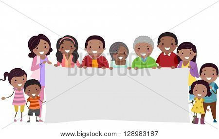 Stickman Illustration of a Family Holding a Blank Banner