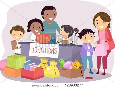 Stickman Illustration of Kids Conducting a Donation Drive