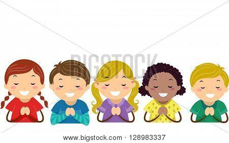 Stickman Illustration of Kids Praying