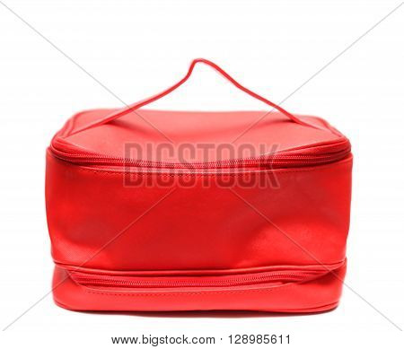 Red Leasure Make Up Bag Isolated On White