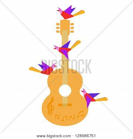 Template Design Poster with acoustic guitar clef notes birds. Idea for Live Music Festival music show. Musical Festivals promotion advertisement. Vector illustration.