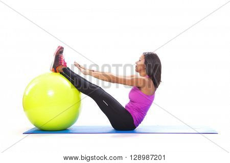 Abdominal workout with a fitness ball