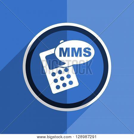 flat design blue mms web modern icon
