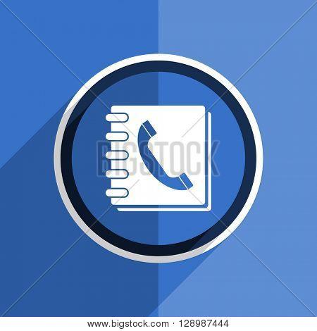 flat design blue phonebook web modern icon