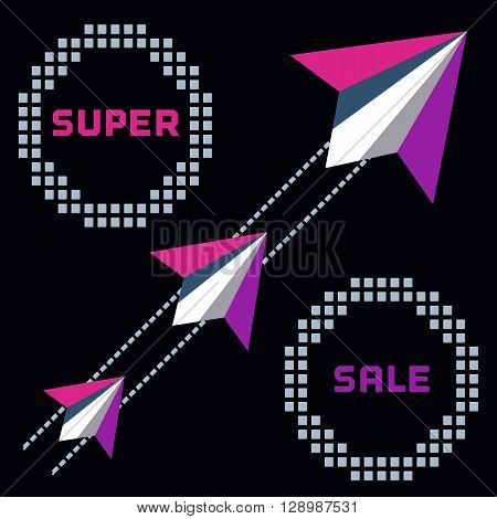 Paper planes. Super sales advertisement. Origami flying paper airplanes. Sale poster discount promotion banner. Special offer for sales season. Presentation of Marketing campaign. Vector illustration