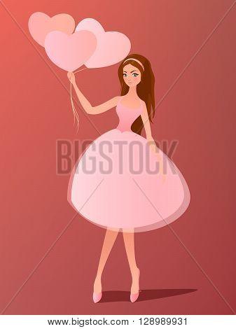 Vector illustration. Cute girl with heart balloons. Cartoon character.