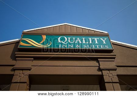 Sault Ste. Marie, Michigan, USA - May 6, 2016: Exterior of the Quality Inn and Suites in Sault  Ste. Marie.  Quality Inn bills itself a midscale hotel catering to families and business travelers.