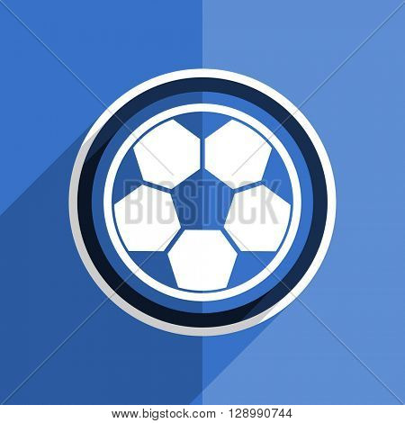 flat design blue soccer web modern icon