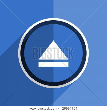 flat design blue eject web modern icon