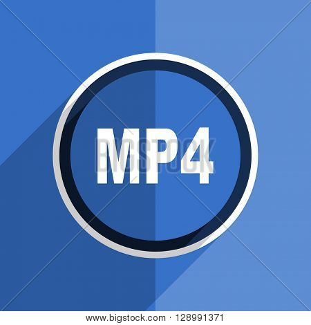 flat design blue mp4 web modern icon