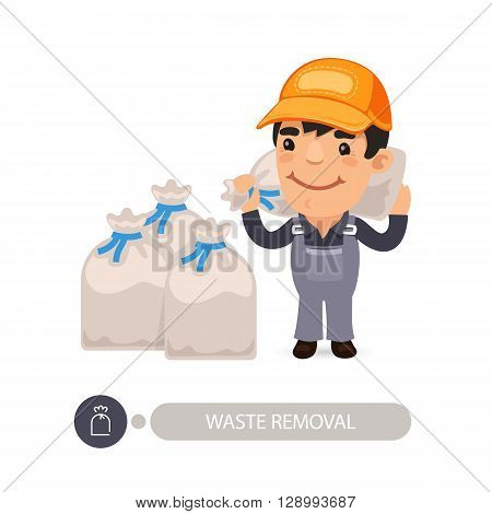 Garbage worker carrying construction rubbish bag. Isolated on white background. Clipping paths included.
