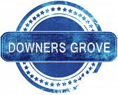 downers grove grunge blue stamp. Isolated on white. poster