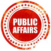 public affairs, red grunge stamp on solid background poster