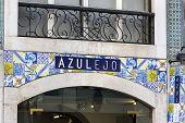 Azulejo - painted tin-glazed ceramic tilework in Lisbon in Portugal poster