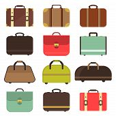 Set many types isolated travel bag for man or woman. Travel bag set and travel hand bag. Travel bag luggage suitcase journey trip and travel bag case baggage. Luggage travel bag. Leather travel bag. poster