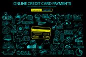 Online credit card payment concept with Doodle design style online purchases, banking, money spending. Modern style illustration for web banners, brochure and flyers. poster