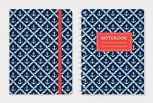 Notebook cover design. Notepad with elastic band and spiral notebook with anchors and rope. Nautical style collection. Vector set. poster