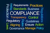 Compliance Word Cloud on Blue Background poster