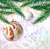 Christmas vector background with seamless ornament, christmas ball and fur tree branch poster