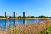 Newly-opened Woodberry wetlands nature reserve at Woodberry Down in London on a sunny day poster
