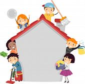 Stickman Illustration of Kids Doing Different Chores poster