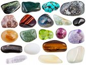 set of various polished natural mineral stones and gemstones - azurite chessylite moonstone agate hypersthene cacholong tigers eye tinguaite peridot etc isolated on white background poster
