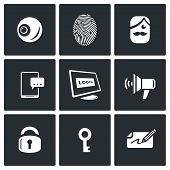 Vector Set of Security Technology Icons. Retinal scan, Fingerprint identification, SMS, Password, Speech synthesis, Locking, Unlocking, Signature. poster