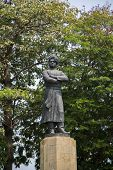 Statue of Swami Vivekananda in Mumbai India. He was a key figure in the introduction of the Indian philosophies of Vedanta and Yoga to the Western world. poster