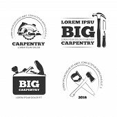 Carpentry, workshop vector labels, logos, badges and emblems with carpentry tools. Emblem carpentry, logo carpentry, carpentry instrument illustration poster