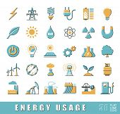 Set of flat line energy icons. Various energy sources. Various kinds of energies for use in industry and everyday life. Solar energy, bio alternative, fuel, electricity, nuclear, wind power, gas.  poster