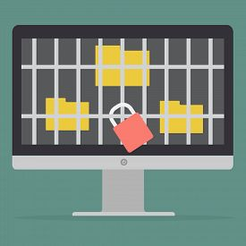 Key lock jail for folder got ransomware malware virus computer on computer PC. Vector illustration technology data privacy and security concept.