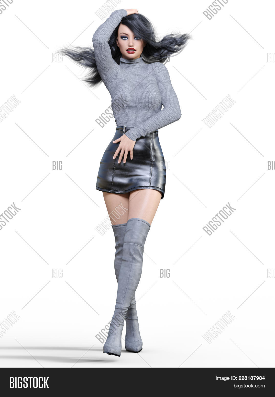 fcb9f69b6f0 3d Beautiful Woman In Short Black Leather Skirt And Long Boots.gray  Pullover.bright