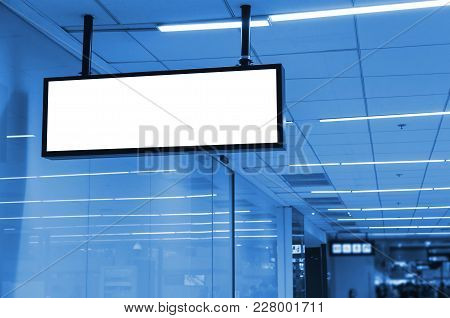 Hanging Blank Advertising Billboard Or Light Box Showcase On Wall At Airport Or Subway, Copy Space F