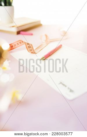 Notebook With Pen, Centimeter And Paper On Table. Lifestyle, Health. Books On The Table. Empty Paper