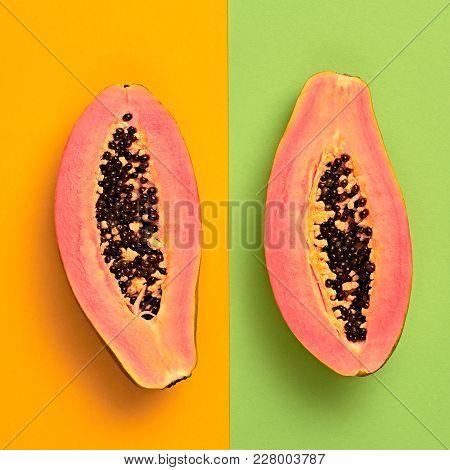 Papaya Tropical Fruit. Bright Sweet Color. Flat Lay. Trendy Fashion Style. Minimal. Hot Summer Vibes