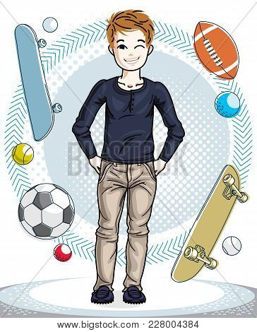 Child Young Teen Boy Cute Standing In Stylish Casual Clothes. Vector Pretty Nice Human Illustration.