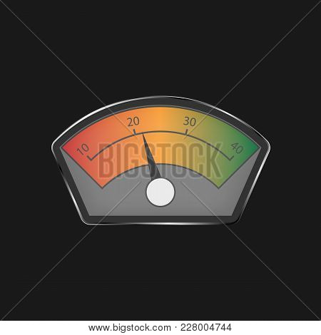 Analog Level Indicator On A Black Background. Color Indicator. Power Measuring Device.