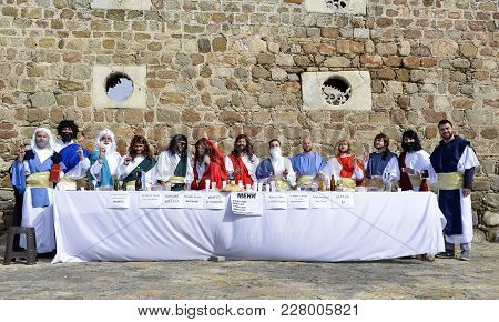Prilep, Macedonia. February 18 , 2018- Young Participants Perfiming Parody Of Last Supper With Apost