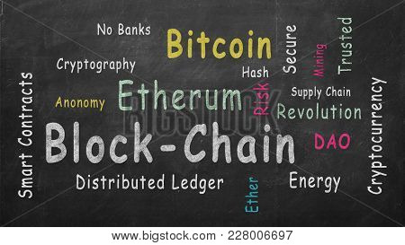 Blockchain. Word Cloud Illustrated Against The Blackboard.
