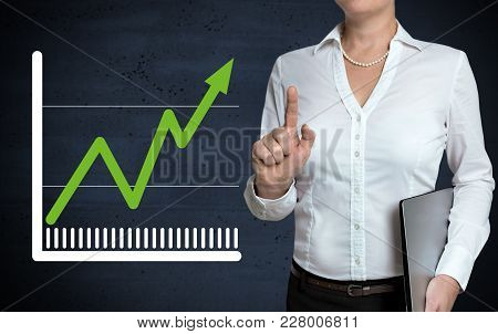 Chart Touchscreen Is Shown By Businesswoman Picture