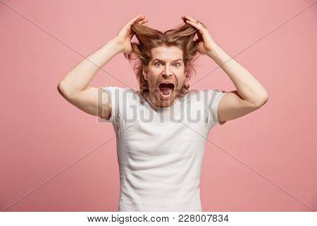 Screaming, Hate, Rage. Crying Emotional Angry Man Screaming On Pink Studio Background. Emotional, Yo